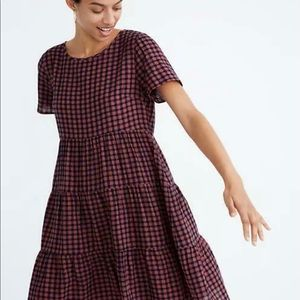 Madewell SS Tiered Mini Dress in Gingham Check
